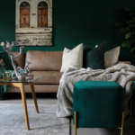 Living room with vibrant green and brown furniture